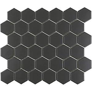 "1 Carton/20 SQFT | Black 2"" Hexagon Mosaic Tile - (Matte)"