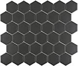 1 Carton/10 SQFT | Black 2'' Hexagon Mosaic Tile (Matte)