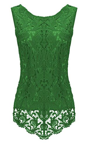 Sumtory Women's Lace Blouse Sleeveless Embroidery Tops Vest Shirt Blouse – Small, Green