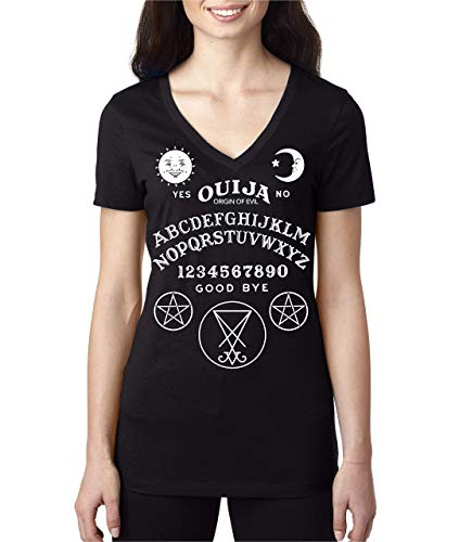 OUIJA BOARD SHIRT - SPIRIT Ouija Talking Board Women's V-Neck black T Shirt ()