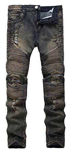 Lannister Fashion Pantalones Vaqueros De Los Hombres Pantalones Elásticos Ajustados Skinny Vaqueros Ajustados Delgados Pantalones De Los Hombres Pantalones Vaqueros Destruidos Delgados Black1