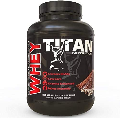 Titan WHEY Premium Whey Protein Powder for Improved Muscle Recovery with 23 Grams of Clean Whey Protein BCAA and Digestive Enzymes Devils Food Cake, 5 lb