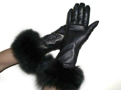 Cashmere Lined Black Lambskin Leather Long Gloves w/Black Fox Trim 7
