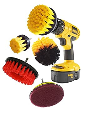 5 Piece Drill Brush Attachment, Power Scrubbing Drill Attachment, Drill Scrubbing Brush, Power Scrubber Brush, Power Scrubber Cleaning Kit for Bathroom, Tile, Grout, Carpet, Kitchen, Tires