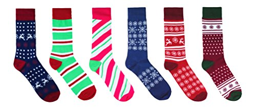 Christmas Socks 6 Pack - Printed Fun Colorful Festive Crew - Winter Holiday Gift Box for Mens and Womens Novelty Dress Christmas Stocking Sock
