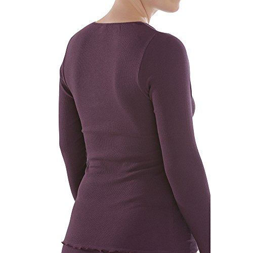 comazo Damen Shirt Langarm Bio-Baumwolle/Elasthan, Plum, Gr. 46