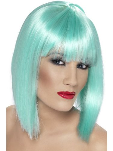 [Smiffy's Women's Glam Wig Neon Short Blunt with Fringe, Aqua, One Size] (Neon Green Wigs)