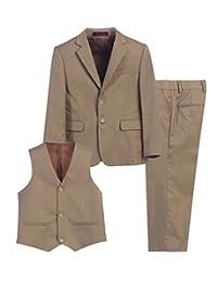 Magen Kids 3 Pc Boys Formal KHAKI Suit,Vest,Pant Set Size 1-18