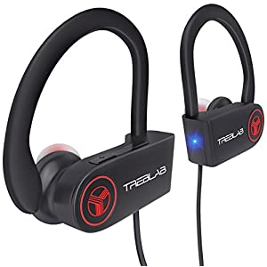 TREBLAB XR100 Bluetooth Sport Headphones, Best Wireless Earbuds for Running Workout, Noise Cancelling Sweatproof Cordless Headset for Gym Use, True Beats Earphones w/ Mic, iPhone Android (Black)