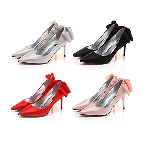 tacchi della donna SILVER scarpe 35 Sposa 39 elegante a Nude punta spillo Bowknot wHXwfxT5q