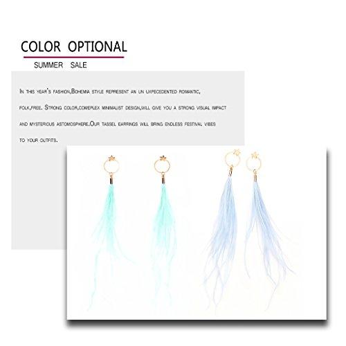 Fashion Boho Elegant Thread Dangle Earrings Star&Round Embellishment Handmade Feather Jewelry Blue by Edress Jewellery (Image #3)