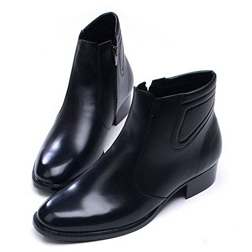 7dae908aee81 EpicStep Men's Black Leather Dress Formal Casual Shoes Zip Ankle Boots