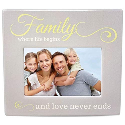 BANBERRY DESIGNS Family Picture Frame - Family Where Life Begins and Love Never Ends Photo Plaque - 4 X 6 Inch Picture Opening - Family Keepsake Frame
