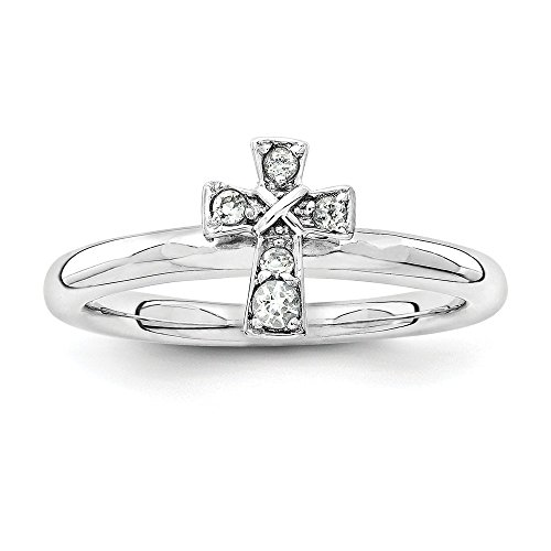 - Sterling Silver Stackable Expressions Rhodium White Topaz Cross Ring Size 10