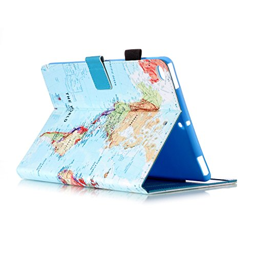 iPad Mini Case Smart Leather Case - UNOTECH Card Slot Protective Case with Pen Holder Wake/Sleep Function for iPad Mini 1 2 3 4 (7.9 Inch), Map by UNOTECH (Image #4)
