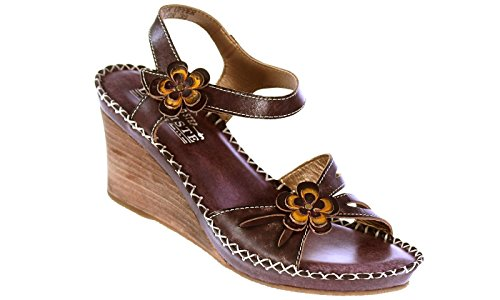 L'ARTISTE Spring Step Women's Leather Floral-Trim Wedge Sandals Brown 7 by L'ARTISTE