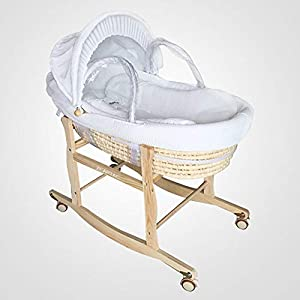 ZEAPTAC Full Sets Cradle Include 1PCS Wooden Cradle Bracket and One Corn Bassinet and Fabric Cloth Material Quilt and Mattress