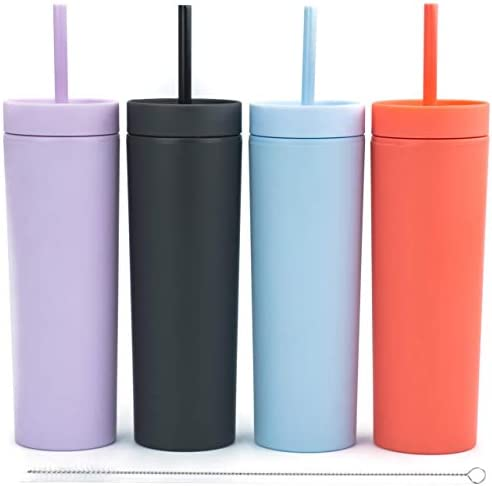 SKINNY TUMBLERS (4 pack) Matte Pastel Colored Acrylic Tumblers with Lids and Straws |16oz Double Wall Plastic Tumblers With Straw Cleaner INCLUDED! Reusable Cup With Straw | Vinyl DIY Gifts