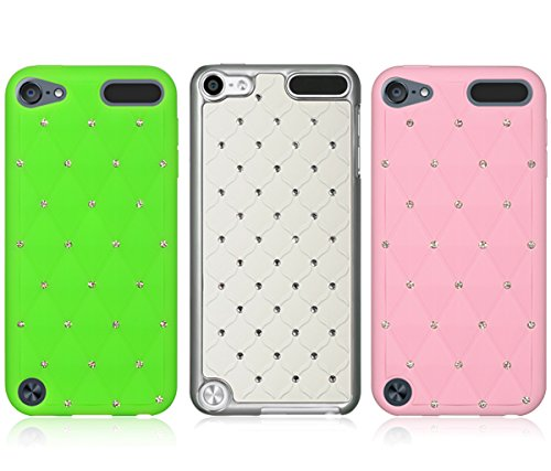 Mozlly Value Pack - Dream Wireless iPod Touch 5,6 Green and Pink High End Studded Diamond Skin Cases and White Diamond Studded Chrome iPod Touch 5 Case (3 Items) - Item #K127015-127016-127018 (Diamond Chrome Case Ipod 5 For)