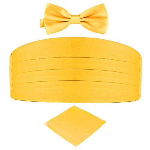 Men's Satin Belt Cummerbund Bow Tie Pocket Square Handkerchief Hanky Set Tuxedo Party (Gold Yellow)