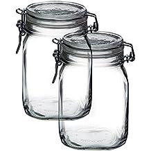 Bormioli Rocco Set OF 2 Fido Clear Jar, 33-3/4-ounce