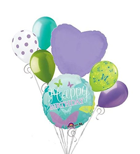 Happy Balloons Butterfly Birthday (7 pc Happy Birthday Butterfly Balloon Bouquet Decoration Purple Turquoise Aqua)