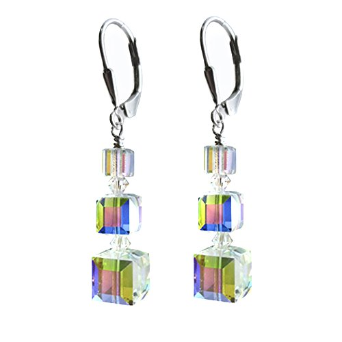 Clear AB, Cube Earrings made with Swarovski Crystal Elements Sterling Silver Lever-Back