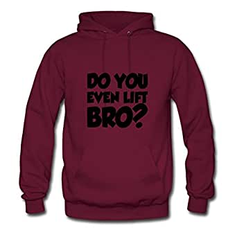 Long-sleeve Do_you_even_lift_bro Hoodies Vogue Designed Burgundy Cotton X-large Women Custom-made