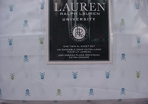 University Twin Sheet Set - Ralph Lauren University Blue and Green Skulls and Crossbones on White Sheet Set Twin XL