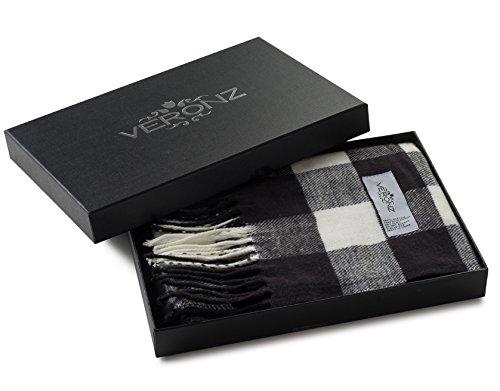 White Check Scarf - Veronz Super Soft Luxurious Classic Cashmere Feel Winter Scarf (Black White Buffalo Check)