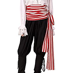 ThePirateDressing Pirate Medieval Renaissance Halloween Cosplay Costume 100% Cotton Large Striped Sash (Red- White)