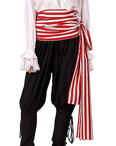 ThePirateDressing Pirate Medieval Renaissance Halloween Cosplay Costume 100% Cotton Large Striped Sash (Red- White) -