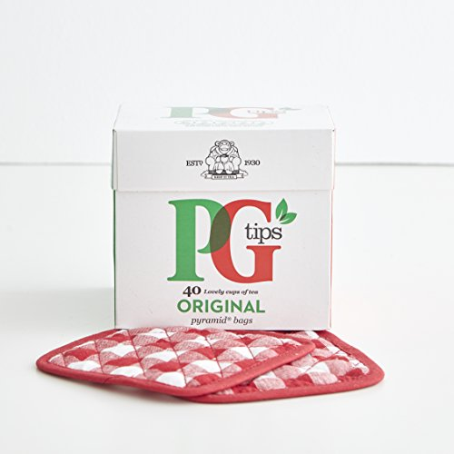 Original PG Tips Black Tea Pyramids (160 bags) Gift Set with Four British handmade quilted red gingham country Tea Coasters