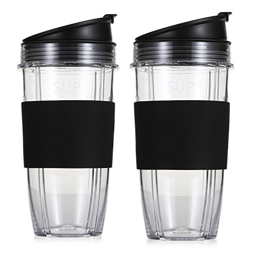 SUP Replacement Parts for Nutri Ninja Blender, 24oz Multi-Serve Cup and Sip & Seal Lid with Silicone Sleeve for Nutri Ninja Blender Auto IQ 1000w(Black, 2 Pack)