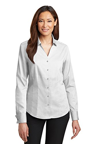 Red House Women's French Cuff Non Iron Pinpoint Oxford S White