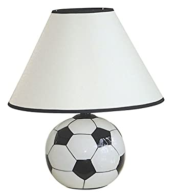 Ore International 604sc Ceramic 60 Watt Soccer Table Lamp White