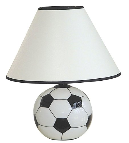 ore international 604sc ceramic 60-watt soccer table lamp, white