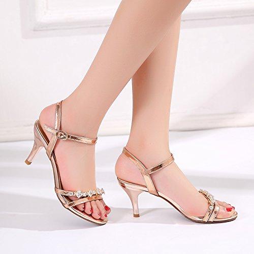 SHOESHAOGE Los Zapatos High-Heel Fina Con Sandalias De Agua Hembra Taladro, Con Zapatos De Mujer ,Eu37 EU34