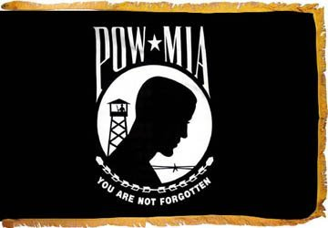 POW MIA FLAG 3'X5' DOUBLE REVERSE WITH FRINGE