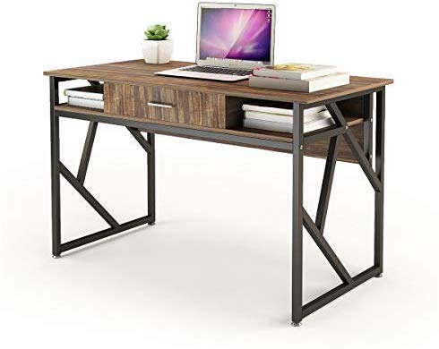 "Computer Desk with Drawer DEWEL 47"" Executive Desk Office Writing Desk PC Laptop Workstation Space-Saving Study Desk with Storage for Home Office Study Rustic Easy Assembly - Well-constructed and Sturdy:Crafted from E1 particle board and electrostatic metal spraying black metal frame,and it features a drawer and two grid for additional storage space,bring you a pleasant and positive working or studying environment; Large Workstation Space with Drawer and Shelf:Ample storage options are provided by fixed shelving and drawers, complete with a spacious desktop that has more than enough room to display your monitor and general office supplies, while leaving you plenty of space to work; Construction Meets ANSI/SOHO Furniture Standards:Wherever you create a home office, your workspace should give you the space to tackle your to-do list, and get it done in style.The charming multi-textured finish works well with an array of décor, and is versatile enough to be used in your home office, living space or dining area; - writing-desks, living-room-furniture, living-room - 41f8yuMwJuL -"