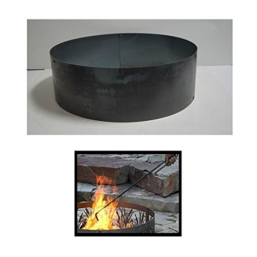 PD Metals Steel Campfire Fire Ring Solid Design - Unpainted - with Fire Poker - Extra Large 60 d x 12 h Plus Free eGuide by PD Metals