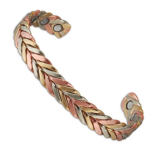 6.5' Magnet ((CPB-0932 ) 6.5'' Triple Cuff Braided Magnetic Copper Bracelet for Men Women for Arthritis with 6 Magnets Cuff Copper Bangle)