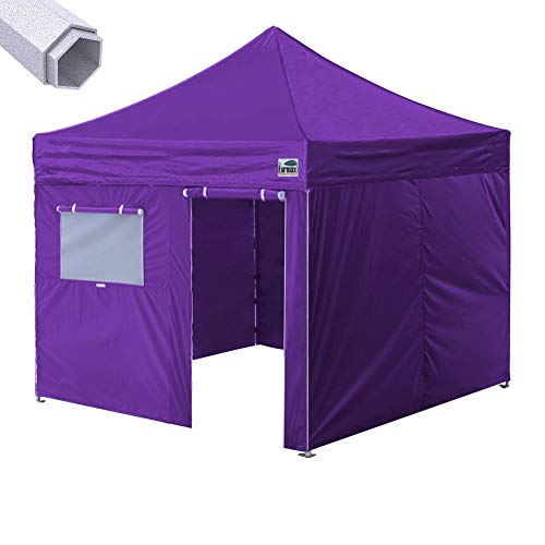 Eurmax Premium 10 x 10 Ez Pop up Canopy Commercial Grade Aluminum Foot Legs with Sidewalls and Roller Bag