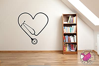 Stethoscope Heart Cutout (BLACK) Vinyl 30 inch Wall Decal Sticker Home Decor Stickers MacBook Laptop Car Love Nursing Tough Strength Strong Strength Hope Inspiration Love Doctor Nurse Veterinarian Health Medicine Hospital Med School
