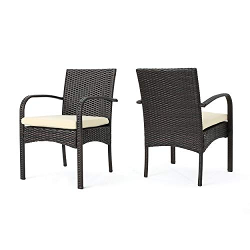 Great Deal Furniture (Set of 2) Carmela Outdoor Multibrown PE Wicker Dining Chairs