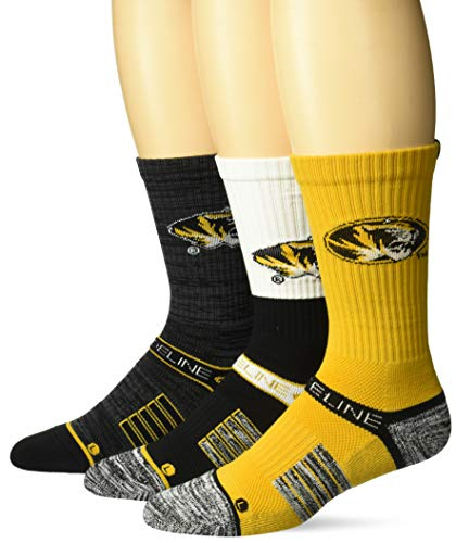 Strideline NCAA Missouri Tigers Premium Athletic Crew Socks, 3-Pack, Black, One Size ()