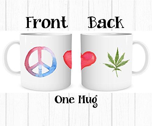 Peace Love Coffee - Peace Love and Marijuana Pot Leaf Weed Cannabis Colorful Watercolor Coffee Mug, 11 oz