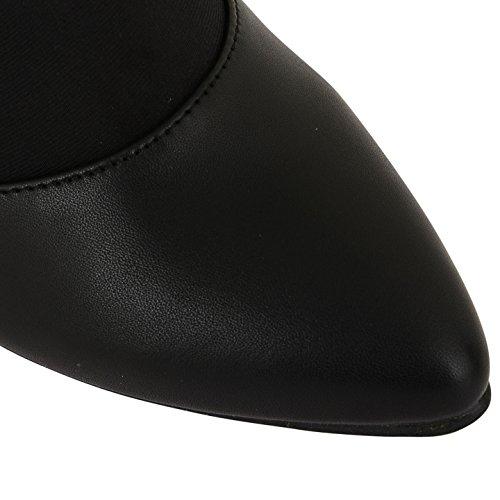 Footwear Sensation Womens Ladies Faux Suede Mediados de talón Stiletto zapatos de corte punta Toe tobillo botas negro