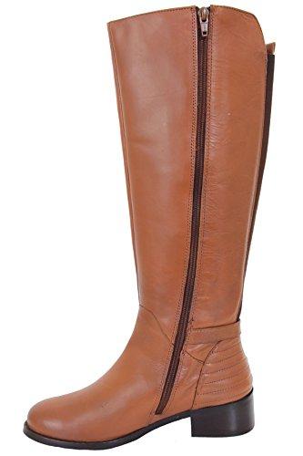 Saphir Boutique glh472 Renoir Reißverschluss Seite wadenhoch niedriger Absatz elastisch Echtleder Stiefel Hellbraun