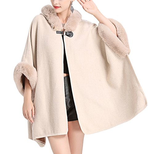 Moda Kaxidy Primavera Chaqueta Abrigos Otoño Ponchos Piel De Mujer Para Invierno E Abrigo Imitación Beige RrxIaqr4w